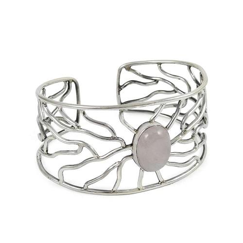 925 sterling silver vintage Jewellery Fashion Rose Quartz Gemstone Bangle