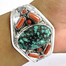 Scenic Coral & Turquoise Gemstone Sterling Silver Bangle Sterling Silver Jewellery