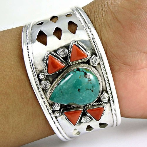 Big Natural!! 925 Sterling Silver Coral, Turquoise Bangle