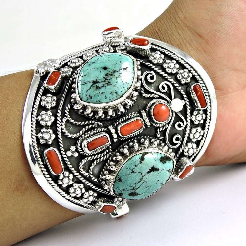 Summer Stock!! 925 Sterling Silver Coral, Turquoise Bangle