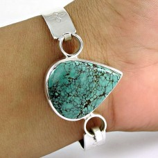 Stunning Turquoise Gemstone Sterling Silver Bangle 925 Silver Jewellery