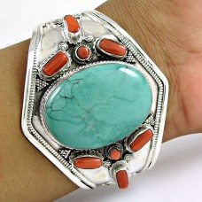 925 sterling silver antique Jewellery Designer Coral & Turquoise Gemstone Bangle