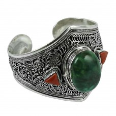 Classic 925 Sterling Silver Coral & Turquoise Gemstone Bangle
