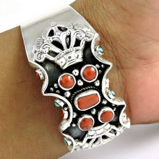 Big Natural ! Coral & Turquoise 925 Sterling Silver Bangle