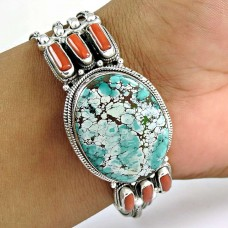 Kiss ! Coral & Turquoise 925 Sterling Silver Bangle