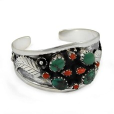 sterling silver fashion Jewellery Rare Coral & Turquoise Gemstone Bangle