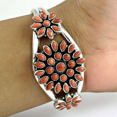 New Faceted ! Coral 925 Sterling Silver Bangle