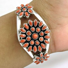 Jumbo Fantastic ! Coral 925 Sterling Silver Bangle