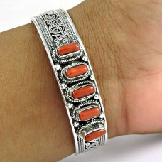 So In Love ! Coral 925 Sterling Silver Bangle