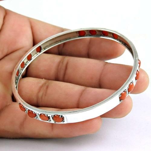 So In Love!! 925 Sterling Silver Coral Bangle