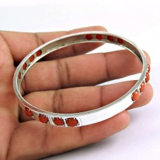 New Style Of ! Coral 925 Sterling Silver Bangle
