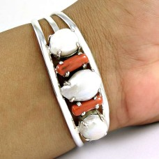 Gorgeous Design ! Pearl, Coral 925 Sterling Silver Bangle