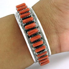 Stylish Coral Sterling Silver Bangle 925 Sterling Silver Jewellery