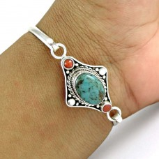 Big Delicate !! Turquoise,Coral 925 Sterling Silver Bangle