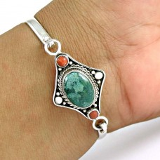 Big Amazing !! Turquoise,Coral 925 Sterling Silver Bangle
