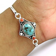 Briliance !! Turquoise,Coral 925 Sterling Silver Bangle