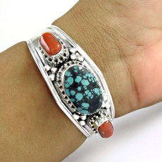 925 Sterling Silver Jewellery Rare Coral, Turquoise Gemstone Bangle Supplier India