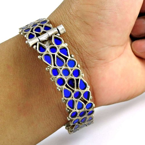 Beautiful 925 Sterling Silver Antique Glass Traditional Bangle