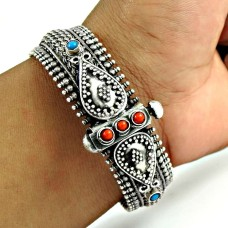 Beautiful Coral, Turquoise Gemstone 925 Sterling Silver Ethnic Bangle Jewellery