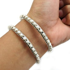 Pearl Bangle 925 Sterling Silver Stylish Jewelry Q4