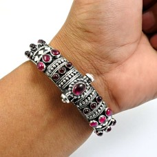 Garnet Gemstone Artisan Bangle 925 Sterling Silver Tribal Jewelry R4