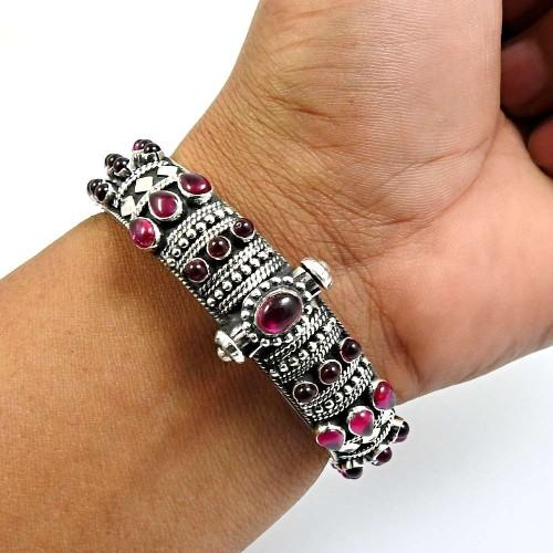 Garnet Gemstone Artisan Bangle 925 Sterling Silver Tribal Jewelry R4