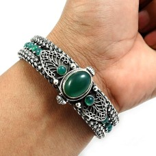 Green Onyx Gemstone Artisan Bangle 925 Sterling Silver Handmade Indian Jewelry V4