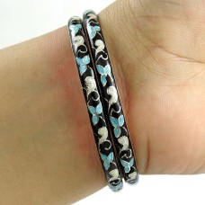 Beautiful Design ! MeenaKari 925 Sterling Silver Bangle