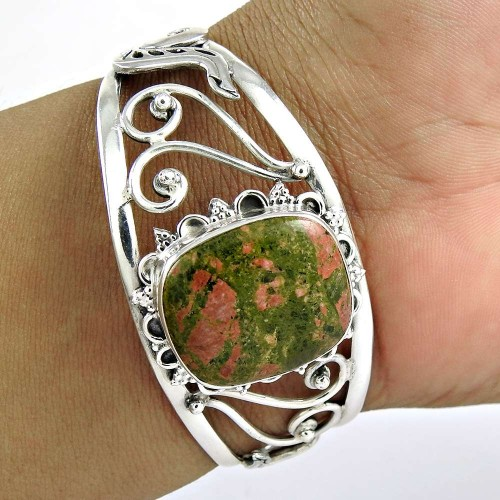 Spell ! Unakite 925 Sterling Silver Bangle
