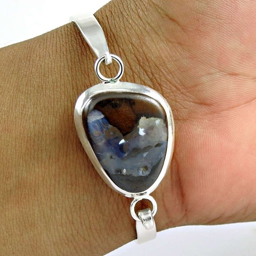 Amazing !! 925 Sterling Silver Fire Opal Bangle