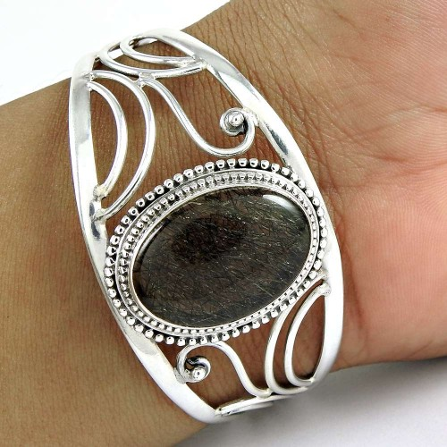 Fashion Design ! Black Rutile 925 Sterling Silver Bangle