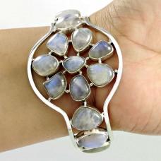 Sterling Silver Jewellery High Polish Rainbow Moonstone Bangle