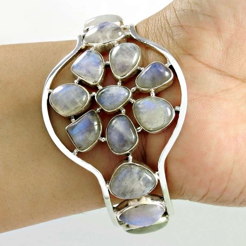 Sterling Silver Jewellery High Polish Rainbow Moonstone Bangle