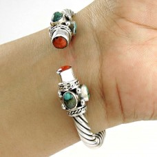 Maya Freedom ! Coral & Turquoise 925 Sterling Silver Bangle