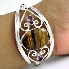 Big Relief Sterling Tiger Eye, Amethyst Gemstone Sterling Silver Bangle Jewellery