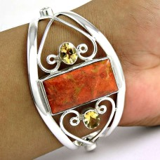 Royal Red Copper Turquoise, Citrine Gemstone Sterling Silver Bangle Jewellery