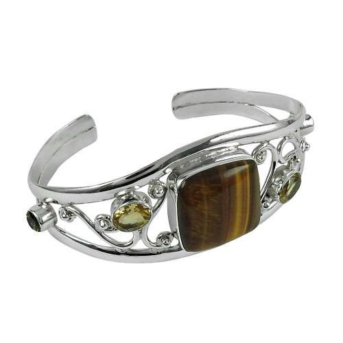 Amusable 925 Sterling Silver Tiger Eye, Citrine, Peridot Gemstone Bangle