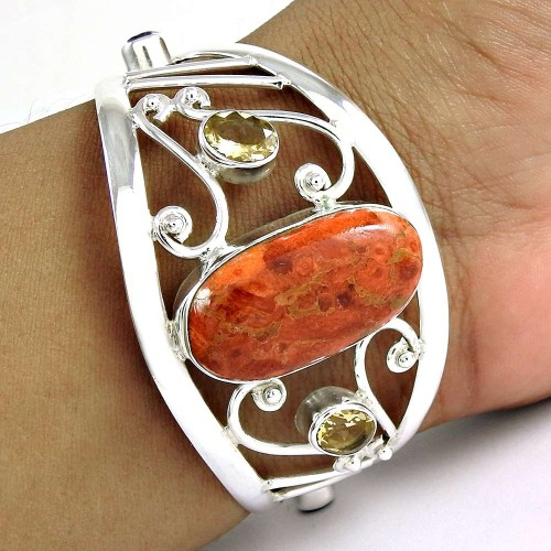 Bloom Fashion Red Copper Turquoise, Citrine Gemstone Sterling Silver Bangle Jewellery