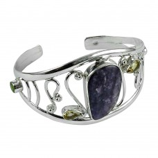 Engaging 925 Sterling Silver Cherorite, Citrine, Peridot Gemstone Bangle