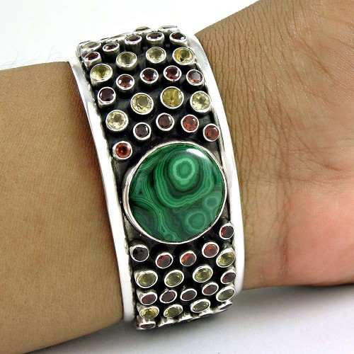 Antique Look ! 925 Sterling Silver Malachite, Garnet, Citrine Bangle