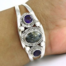 Breath of Love Multi Stone Gemstone Sterling Silver Bangle Jewellery