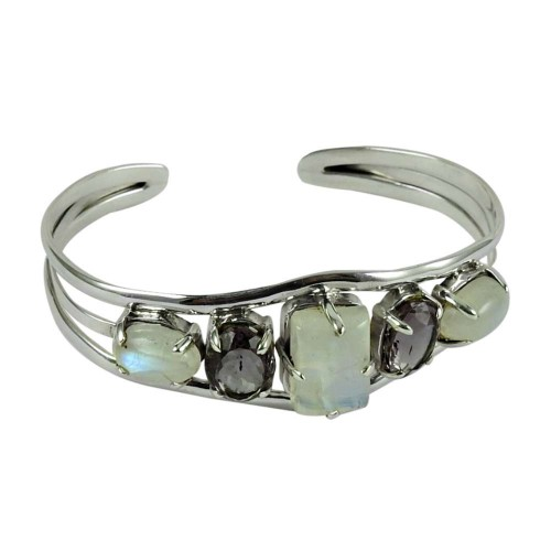 Excellent 925 Sterling Silver Rainbow Moonstone, Amethyst Gemstone Bangle