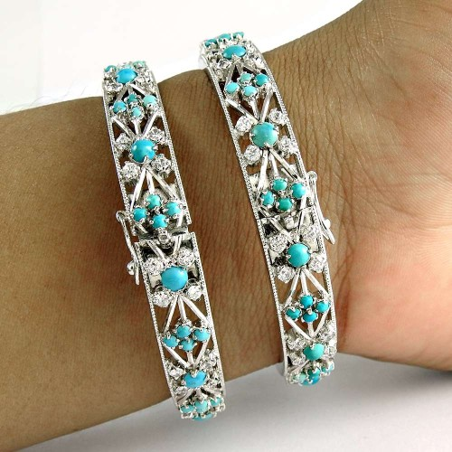 Breath of Love 925 Sterling Silver Turquoise CZ Gemstone Ethnic Bangle