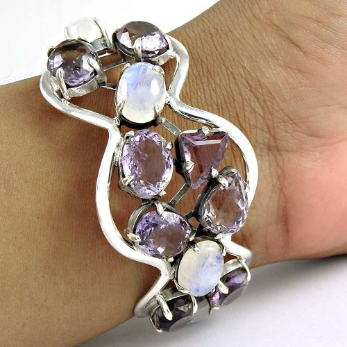 Lady Elegance ! Rainbow, Amethyst 925 Sterling Silver Bangle