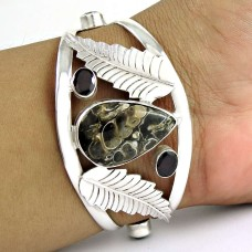 Great Creation ! Turetella Agate, Garnet & Lemon Quartz 925 Sterling Silver Bangle
