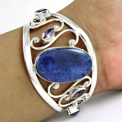 Top Quality African ! Sodalite, Amethyst 925 Sterling Silver Bangle