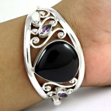 Great ! Black Onyx, Amethyst, Pearl 925 Sterling Silver Bangle