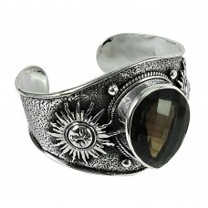 Beautiful 925 Sterling Silver Smoky Quartz Gemstone Antique Bangle