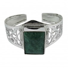 Designer 925 Sterling Silver Emerald Gemstone Bangle Jewellery