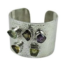 Rare 925 Sterling Silver Citrine, Amethyst, Smoky Quartz, Green Amethyst, Lemon Topaz Gemstone Bangle
